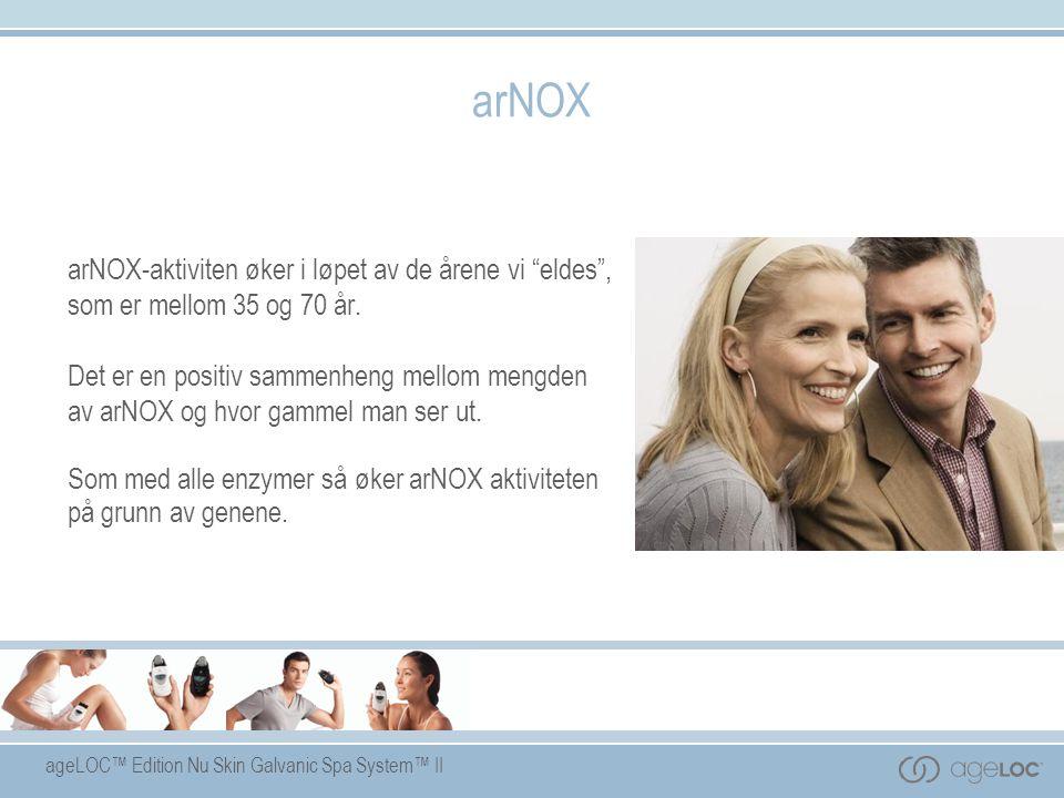 """ageLOC™ Edition Nu Skin Galvanic Spa System™ II arNOX arNOX-aktiviten øker i løpet av de årene vi """"eldes"""", som er mellom 35 og 70 år. Det er en positi"""