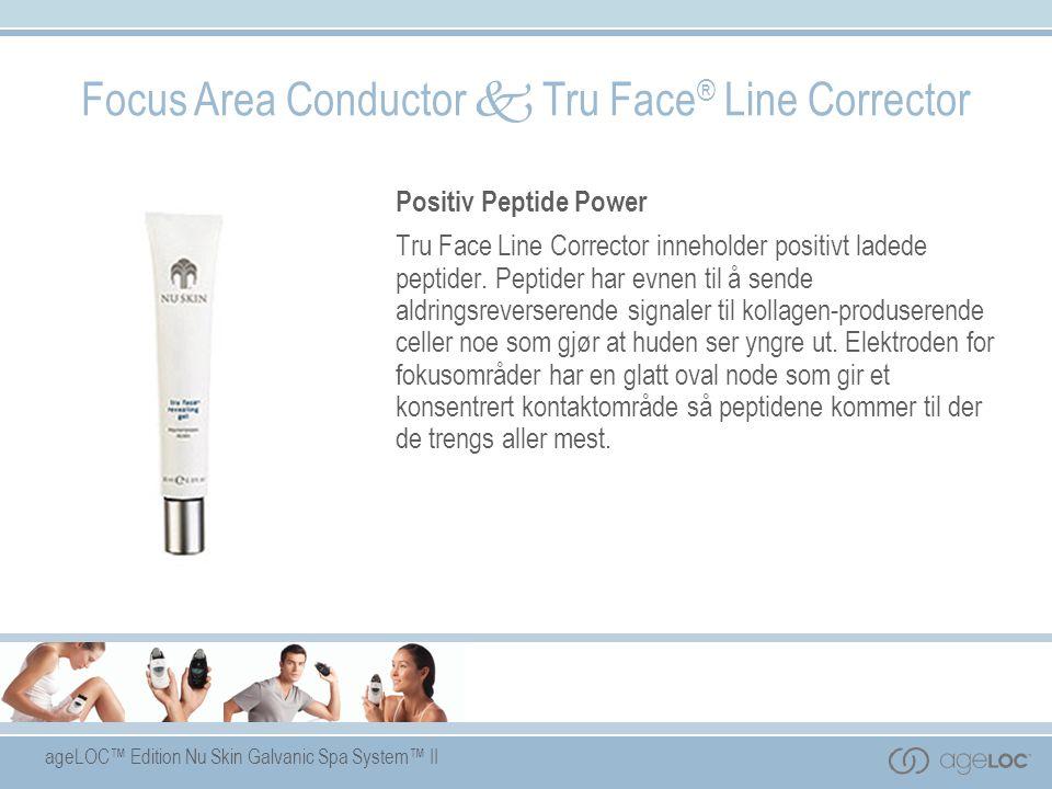 ageLOC™ Edition Nu Skin Galvanic Spa System™ II Focus Area Conductor  Tru Face ® Line Corrector Positiv Peptide Power Tru Face Line Corrector innehol