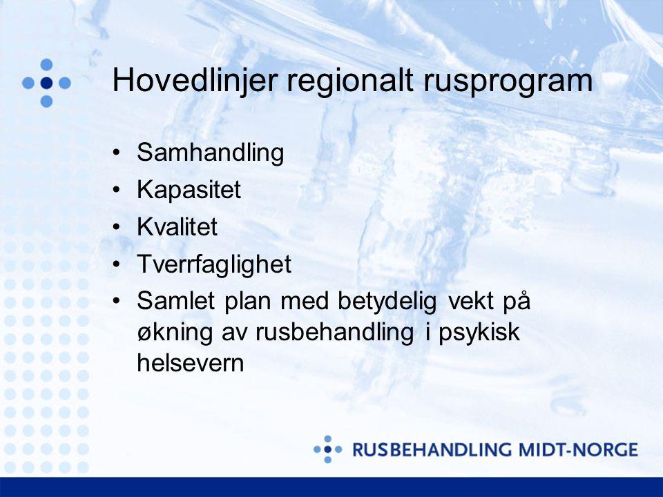 Hovedlinjer regionalt rusprogram •Samhandling •Kapasitet •Kvalitet •Tverrfaglighet •Samlet plan med betydelig vekt på økning av rusbehandling i psykisk helsevern