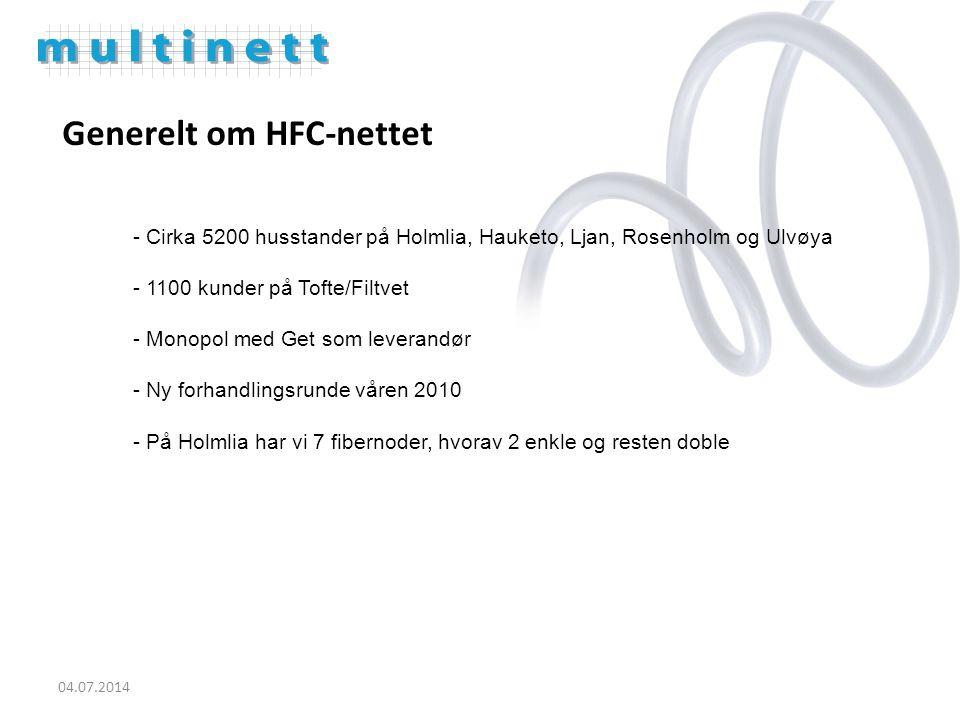 Generelt om HFC-nettet - Cirka 5200 husstander på Holmlia, Hauketo, Ljan, Rosenholm og Ulvøya - 1100 kunder på Tofte/Filtvet - Monopol med Get som leverandør - Ny forhandlingsrunde våren 2010 - På Holmlia har vi 7 fibernoder, hvorav 2 enkle og resten doble 04.07.2014