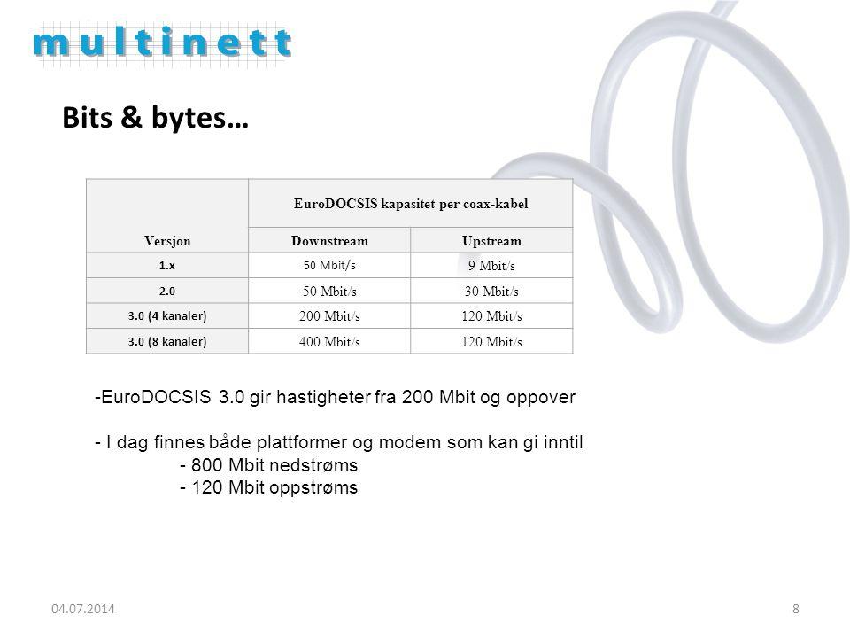 8 Bits & bytes… Versjon EuroDOCSIS kapasitet per coax-kabel DownstreamUpstream 1.x50 Mbit/s 9 Mbit/s 2.0 50 Mbit/s30 Mbit/s 3.0 (4 kanaler) 200 Mbit/s120 Mbit/s 3.0 (8 kanaler) 400 Mbit/s120 Mbit/s -EuroDOCSIS 3.0 gir hastigheter fra 200 Mbit og oppover - I dag finnes både plattformer og modem som kan gi inntil - 800 Mbit nedstrøms - 120 Mbit oppstrøms
