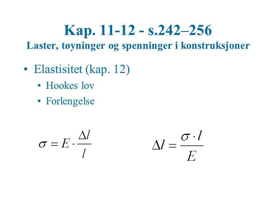 Kap. 11-12 - s.242–256 Laster, tøyninger og spenninger i konstruksjoner •Elastisitet (kap. 12) •Hookes lov •Forlengelse
