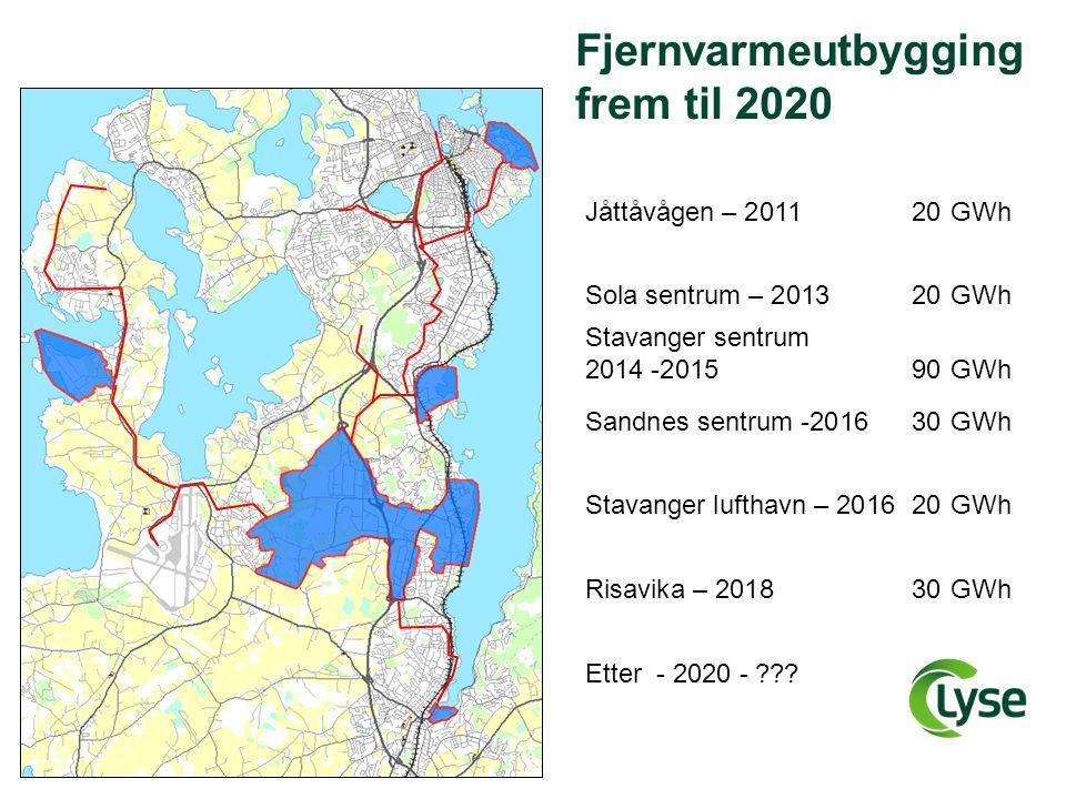 Fjernvarmeutbygging frem til 2020 Jåttåvågen – 2011 20GWh Sola sentrum – 201320GWh Stavanger lufthavn – 201620GWh Stavanger sentrum 2014 -2015 90GWh R
