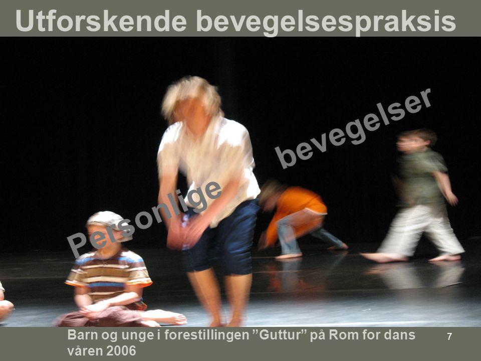 7 Personlige bevegelser Barn og unge i forestillingen Guttur på Rom for dans våren 2006 Utforskende bevegelsespraksis
