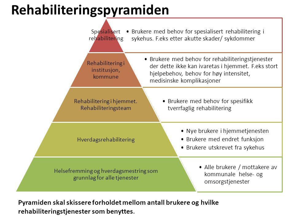 •Brukere med behov for spesialisert rehabilitering i sykehus. F.eks etter akutte skader/ sykdommer Spesialisert rehabiliterin g •Brukere med behov for