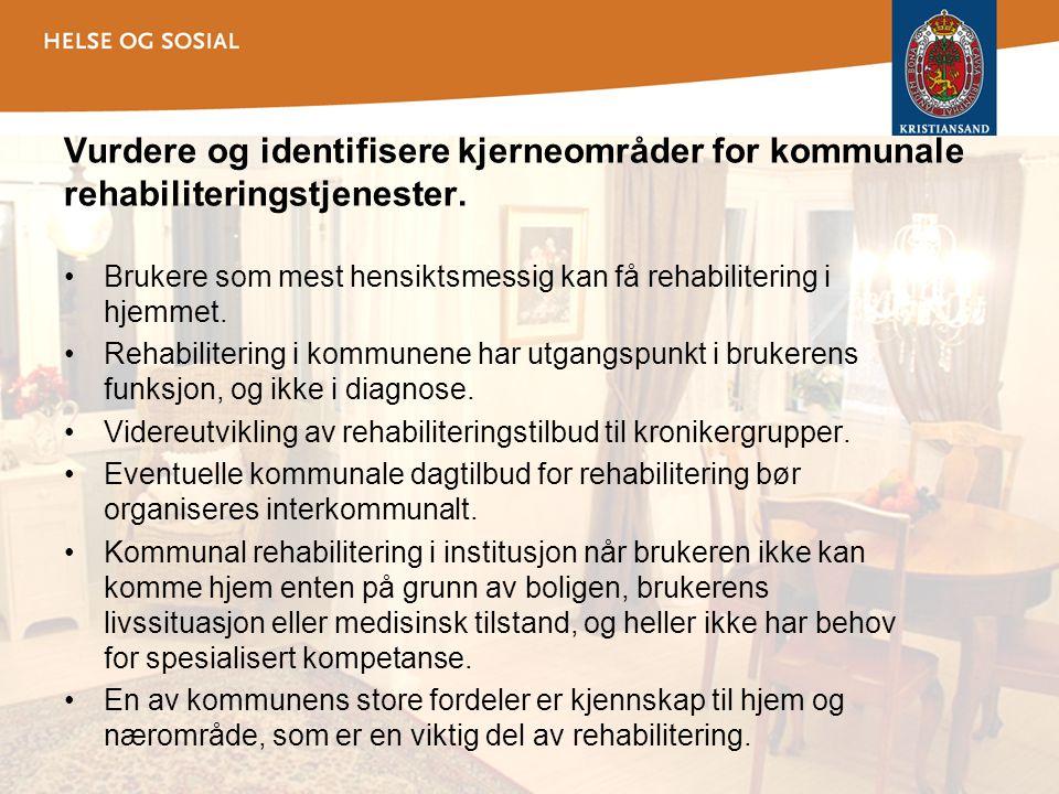 Vurdere og identifisere kjerneområder for kommunale rehabiliteringstjenester. •Brukere som mest hensiktsmessig kan få rehabilitering i hjemmet. •Rehab