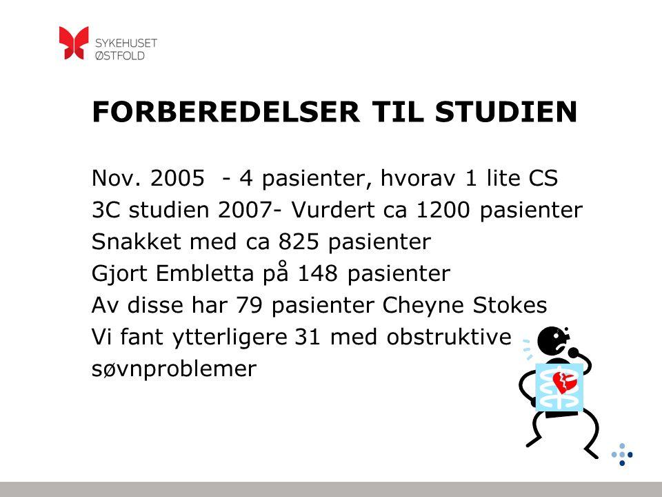 FORBEREDELSER TIL STUDIEN Nov. 2005 - 4 pasienter, hvorav 1 lite CS 3C studien 2007- Vurdert ca 1200 pasienter Snakket med ca 825 pasienter Gjort Embl