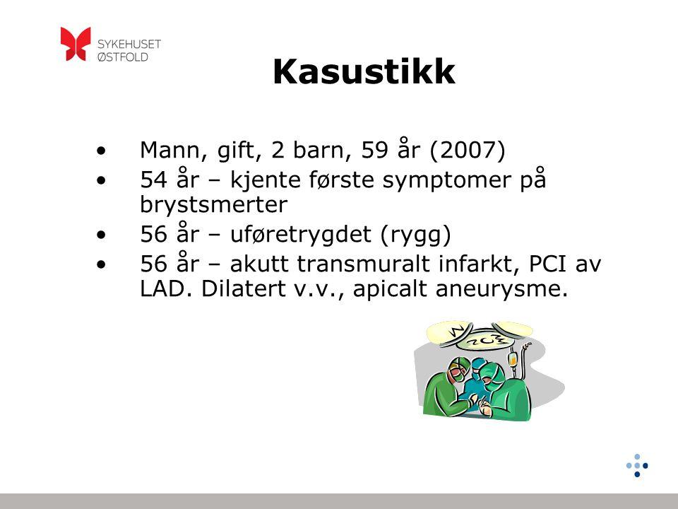 Kasustikk forts… •Postinf.hjertesvikt, EF 35%.Medik.oppstart •6 mndr etter – PCI, EF 30%.