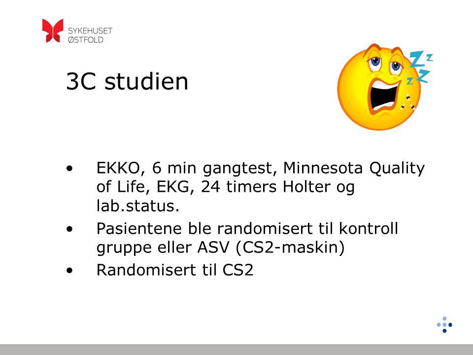 3C studien •EKKO, 6 min gangtest, Minnesota Quality of Life, EKG, 24 timers Holter og lab.status. •Pasientene ble randomisert til kontroll gruppe elle