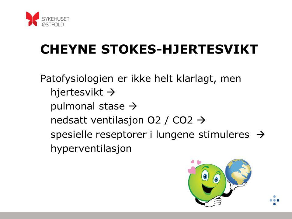 CSR - PATOFYSIOLOGI Hyperventilasjon  PaCO2 synker under apnoe-terskelen  Hypopnoe, apnoe og PaCO2 stigning.