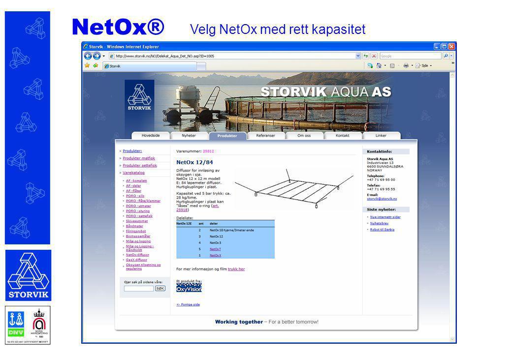 NetOx® Velg NetOx med rett kapasitet