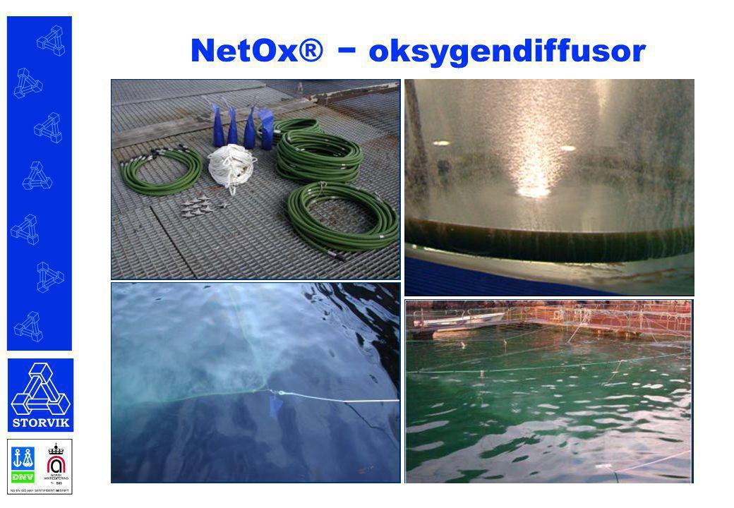 NetOx® - teknologi for å tilsette oksygen i merder eller store areal (laks, ørret, reker, karpe?, malle?) Brukes vanligvis i perioder da fisken lett kan stresses og har høyt oksygenforbruk:  Avlusing  Høye temperaturer  Reingjøring/rep./bytte av not  Sortering  Slakting/levering (pumping) NetOx® − oksygendiffusor