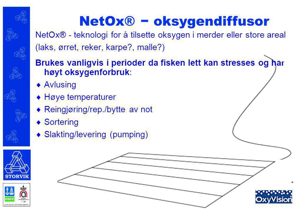 NetOx® - teknologi for å tilsette oksygen i merder eller store areal (laks, ørret, reker, karpe?, malle?) Brukes vanligvis i perioder da fisken lett k