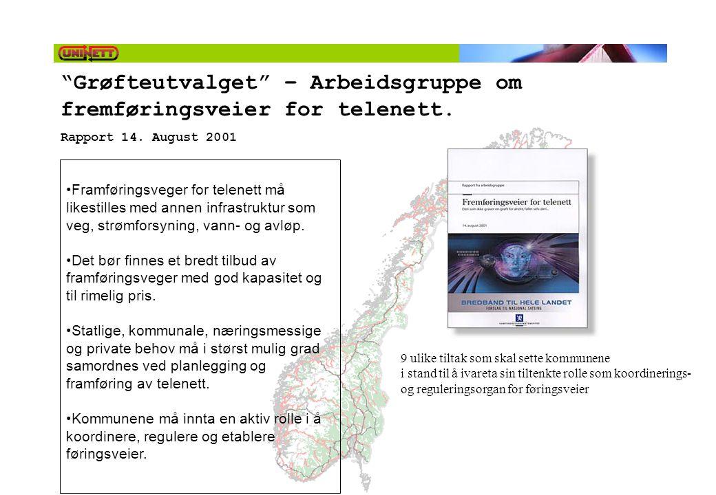 """""""Grøfteutvalget"""" – Arbeidsgruppe om fremføringsveier for telenett. Rapport 14. August 2001 •Framføringsveger for telenett må likestilles med annen inf"""