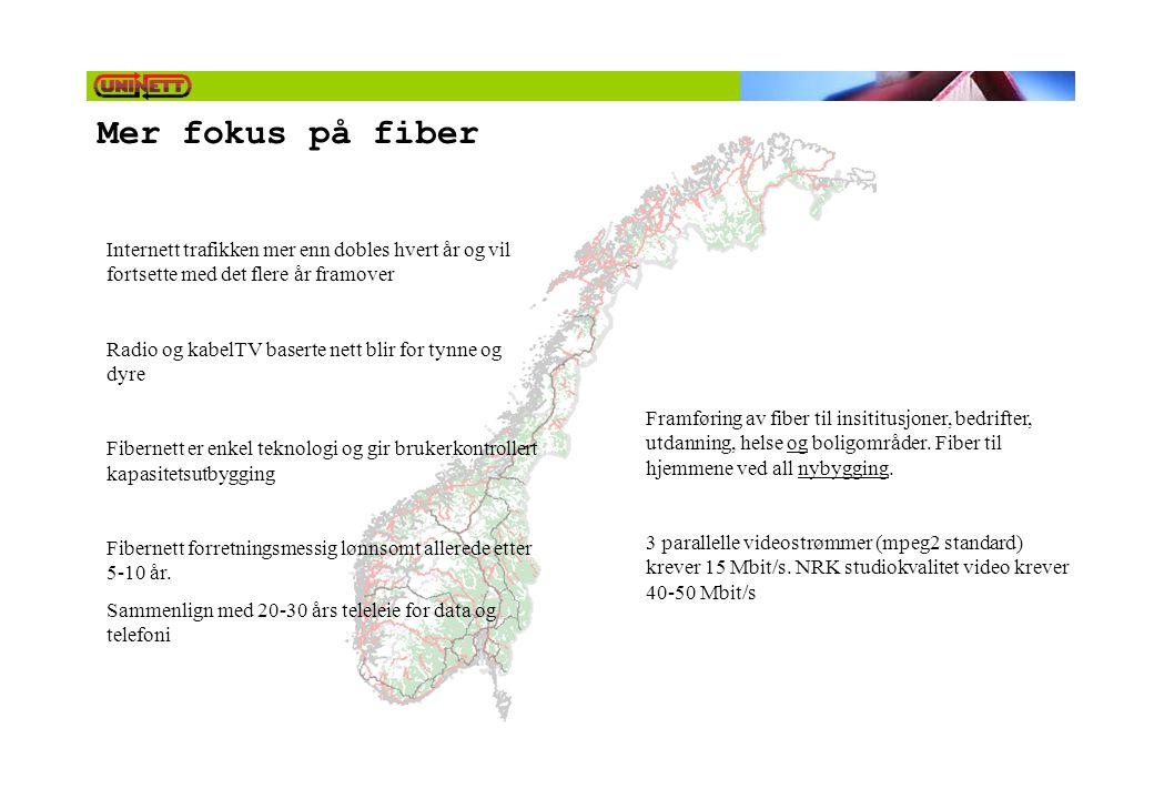 Mer fokus på fiber Internett trafikken mer enn dobles hvert år og vil fortsette med det flere år framover Radio og kabelTV baserte nett blir for tynne