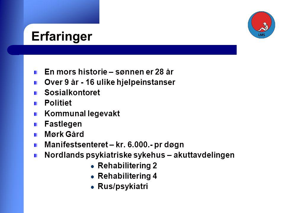 Erfaringer En mors historie – sønnen er 28 år Over 9 år - 16 ulike hjelpeinstanser Sosialkontoret Politiet Kommunal legevakt Fastlegen Mørk Gård Manifestsenteret – kr.