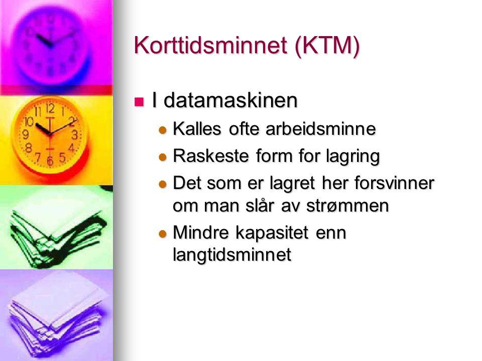 Korttidsminnet (KTM)  I datamaskinen  Kalles ofte arbeidsminne  Raskeste form for lagring  Det som er lagret her forsvinner om man slår av strømmen  Mindre kapasitet enn langtidsminnet