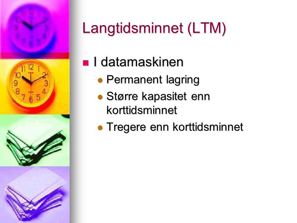 Langtidsminnet (LTM)  I datamaskinen  Permanent lagring  Større kapasitet enn korttidsminnet  Tregere enn korttidsminnet