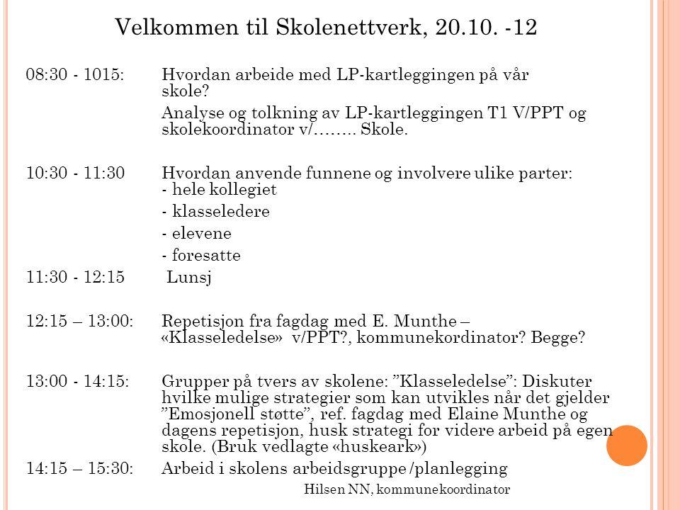 Velkommen til Skolenettverk, 20.10. -12 08:30 - 1015: Hvordan arbeide med LP-kartleggingen på vår skole? Analyse og tolkning av LP-kartleggingen T1 V/