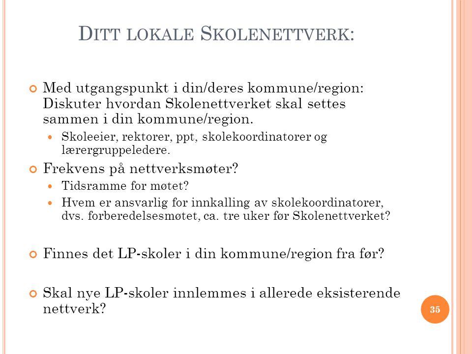 D ITT LOKALE S KOLENETTVERK : Med utgangspunkt i din/deres kommune/region: Diskuter hvordan Skolenettverket skal settes sammen i din kommune/region. 