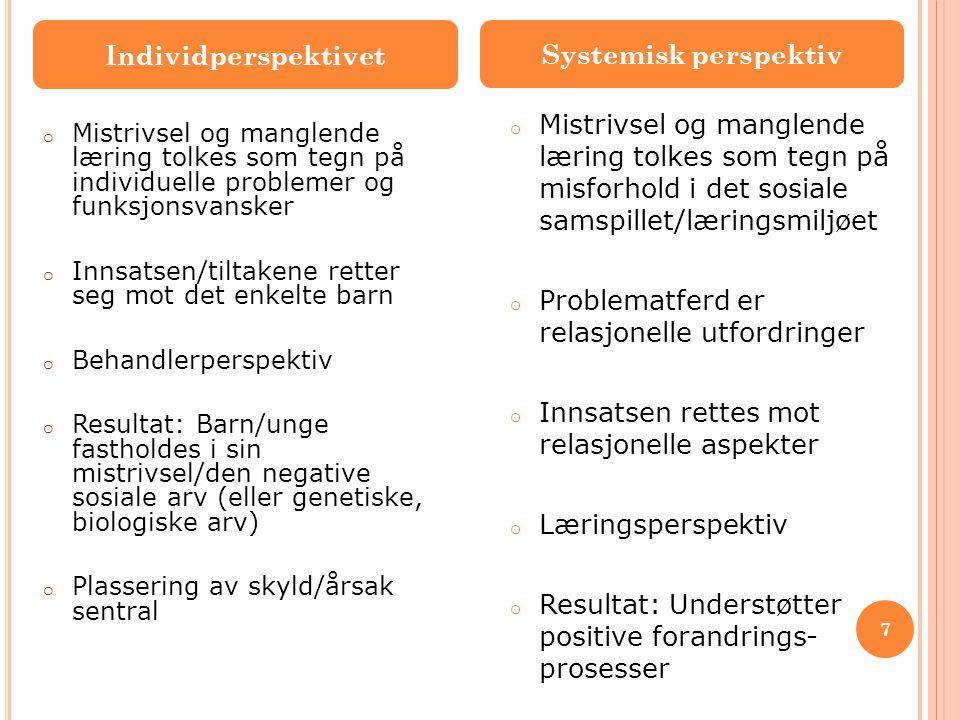 Individperspektivet Systemisk perspektiv o Mistrivsel og manglende læring tolkes som tegn på individuelle problemer og funksjonsvansker o Innsatsen/ti
