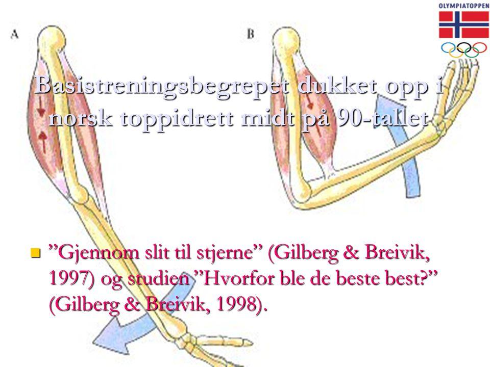 """Basistreningsbegrepet dukket opp i norsk toppidrett midt på 90-tallet  """"Gjennom slit til stjerne"""" (Gilberg & Breivik, 1997) og studien """"Hvorfor ble d"""