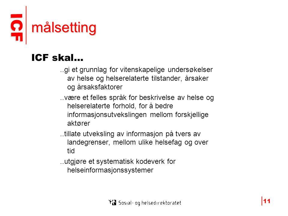 ICF ICF 11 målsetting ICF skal…..gi et grunnlag for vitenskapelige undersøkelser av helse og helserelaterte tilstander, årsaker og årsaksfaktorer..være et felles språk for beskrivelse av helse og helserelaterte forhold, for å bedre informasjonsutvekslingen mellom forskjellige aktører..tillate utveksling av informasjon på tvers av landegrenser, mellom ulike helsefag og over tid..utgjøre et systematisk kodeverk for helseinformasjonssystemer