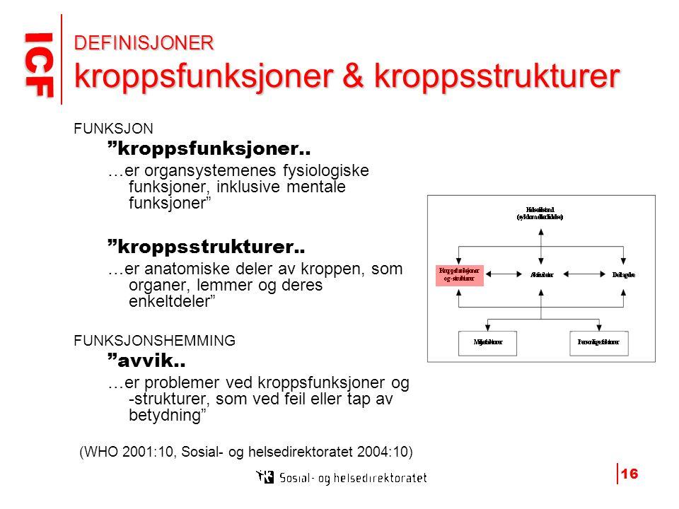 ICF ICF 16 DEFINISJONER kroppsfunksjoner & kroppsstrukturer FUNKSJON kroppsfunksjoner..