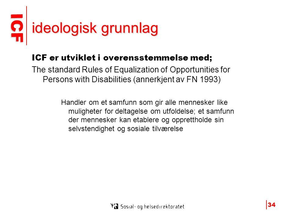 ICF ICF 34 ideologisk grunnlag ICF er utviklet i overensstemmelse med; The standard Rules of Equalization of Opportunities for Persons with Disabilities (annerkjent av FN 1993) Handler om et samfunn som gir alle mennesker like muligheter for deltagelse om utfoldelse; et samfunn der mennesker kan etablere og opprettholde sin selvstendighet og sosiale tilværelse