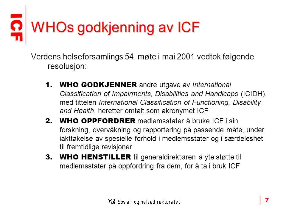 ICF ICF 7 WHOs godkjenning av ICF Verdens helseforsamlings 54.