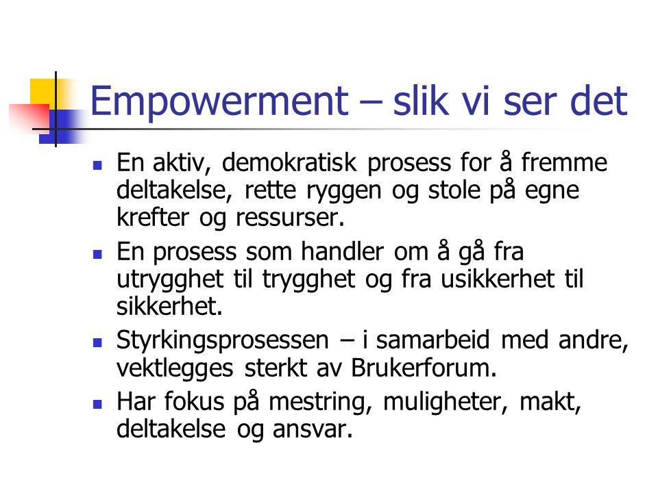 Empowerment – slik vi ser det  En aktiv, demokratisk prosess for å fremme deltakelse, rette ryggen og stole på egne krefter og ressurser.  En proses