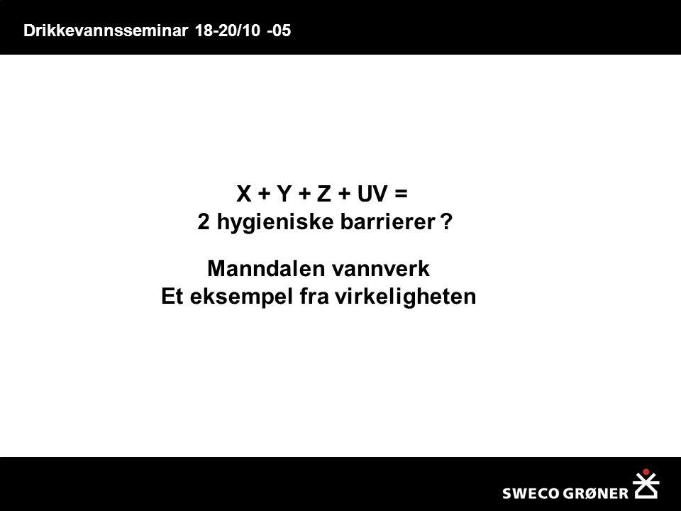 Drikkevannsseminar 18-20/10 -05 X + Y + Z + UV = 2 hygieniske barrierer ? Manndalen vannverk Et eksempel fra virkeligheten