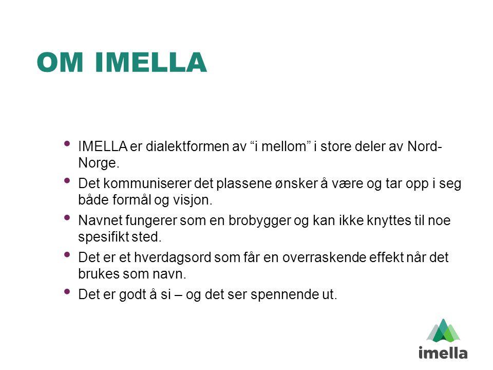 """OM IMELLA • IMELLA er dialektformen av """"i mellom"""" i store deler av Nord- Norge. • Det kommuniserer det plassene ønsker å være og tar opp i seg både fo"""