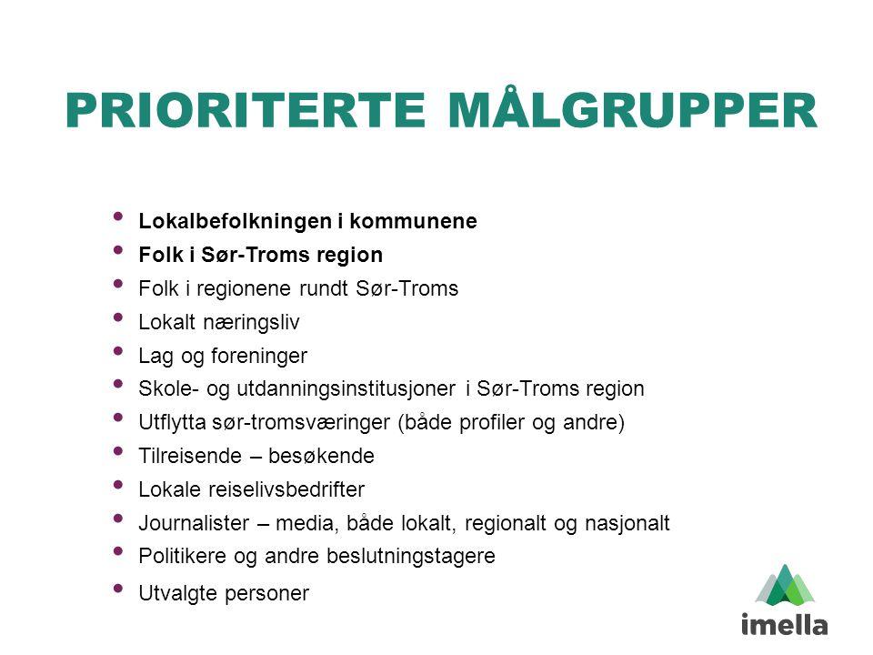PRIORITERTE MÅLGRUPPER • Lokalbefolkningen i kommunene • Folk i Sør-Troms region • Folk i regionene rundt Sør-Troms • Lokalt næringsliv • Lag og foren