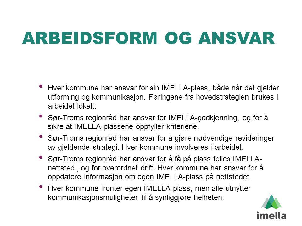 ARBEIDSFORM OG ANSVAR • Hver kommune har ansvar for sin IMELLA-plass, både når det gjelder utforming og kommunikasjon. Føringene fra hovedstrategien b