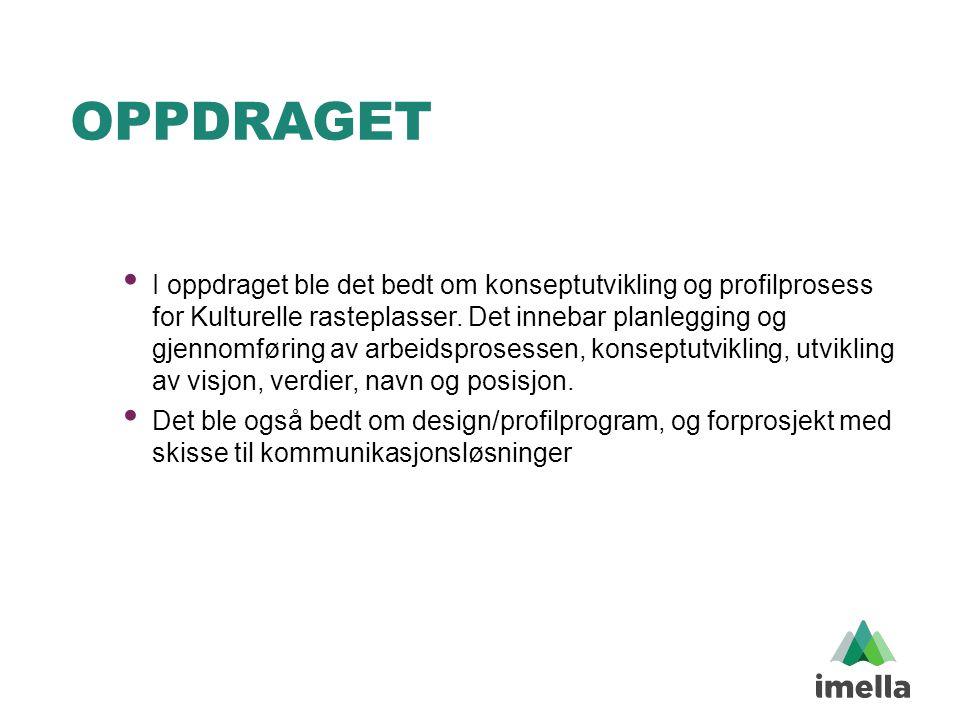 OPPDRAGET • I oppdraget ble det bedt om konseptutvikling og profilprosess for Kulturelle rasteplasser. Det innebar planlegging og gjennomføring av arb