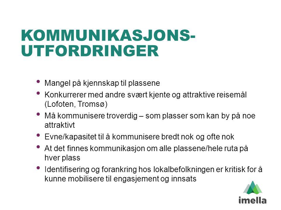KOMMUNIKASJONS- UTFORDRINGER • Mangel på kjennskap til plassene • Konkurrerer med andre svært kjente og attraktive reisemål (Lofoten, Tromsø) • Må kom