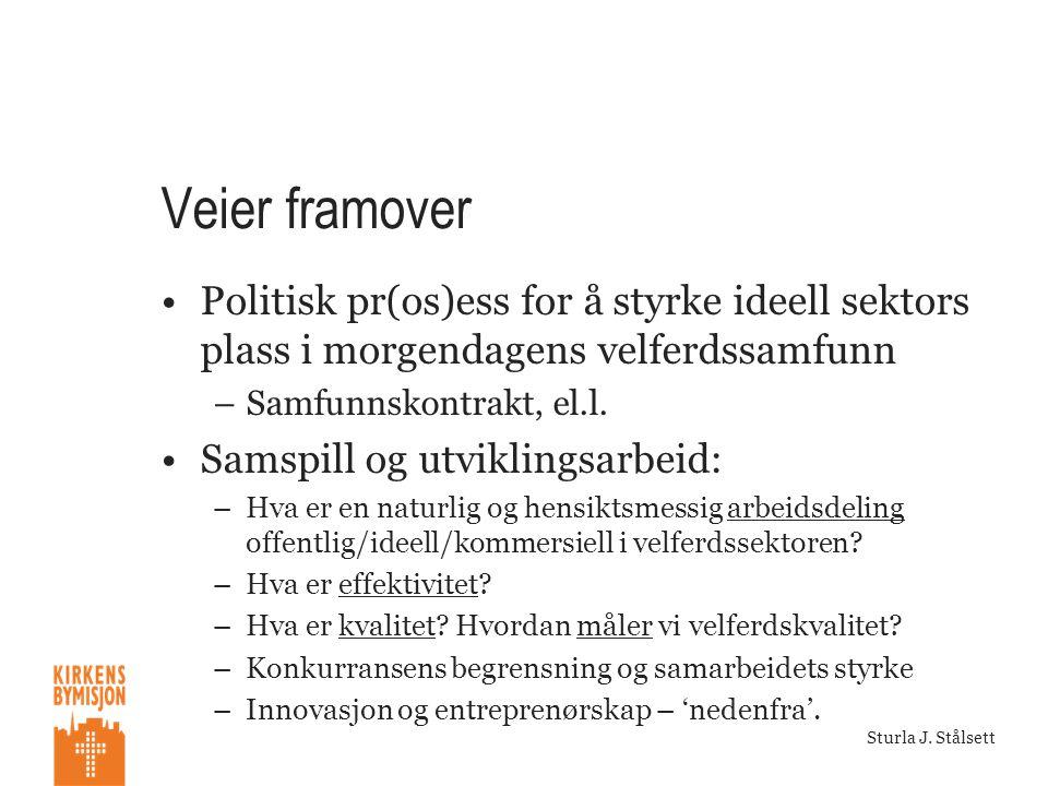 Veier framover •Politisk pr(os)ess for å styrke ideell sektors plass i morgendagens velferdssamfunn –Samfunnskontrakt, el.l.