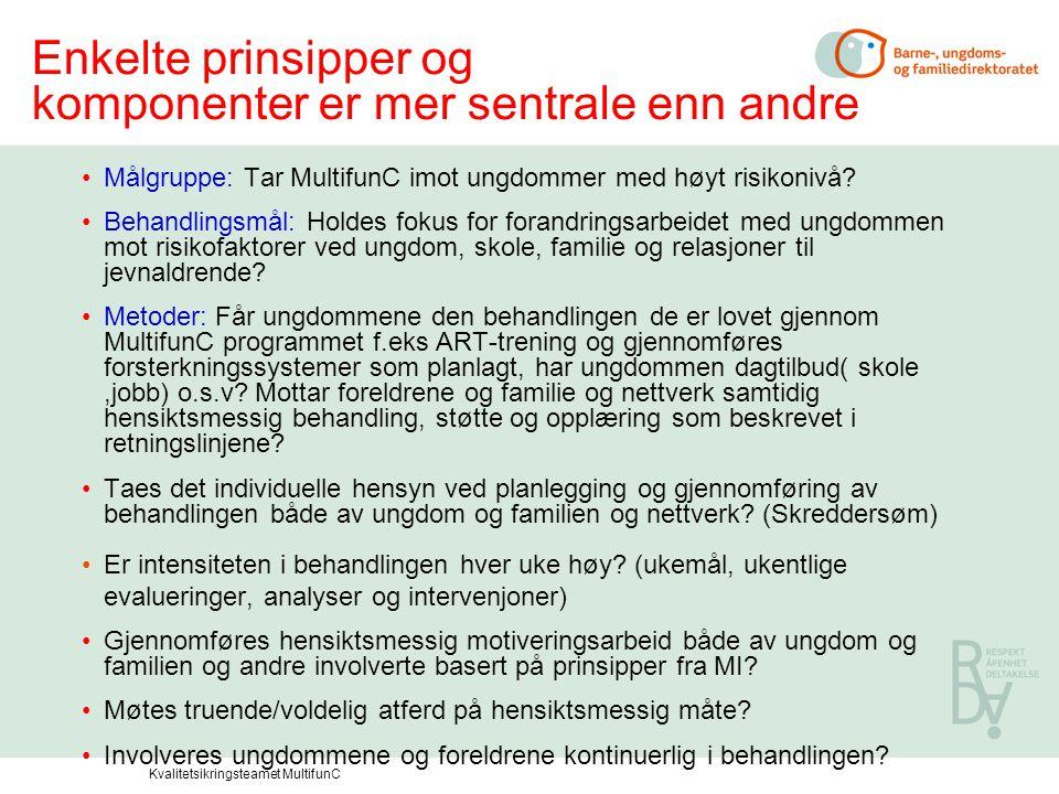 Enkelte prinsipper og komponenter er mer sentrale enn andre •Målgruppe: Tar MultifunC imot ungdommer med høyt risikonivå? •Behandlingsmål: Holdes foku