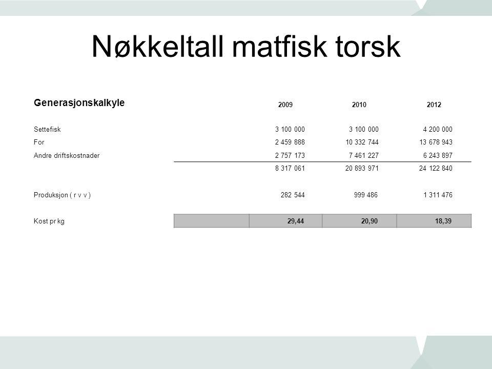 Nøkkeltall matfisk torsk Generasjonskalkyle 200920102012 Settefisk 3 100 000 4 200 000 For 2 459 888 10 332 744 13 678 943 Andre driftskostnader 2 757