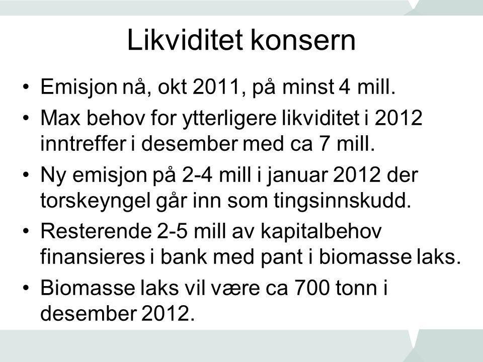 Likviditet konsern •Emisjon nå, okt 2011, på minst 4 mill.