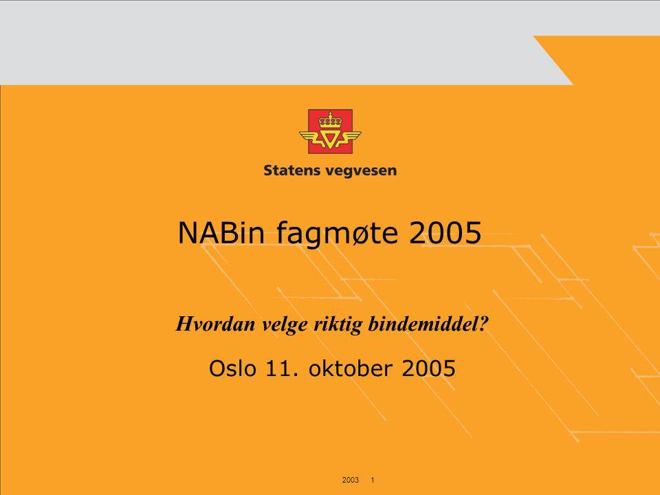 2003 1 NABin fagmøte 2005 Hvordan velge riktig bindemiddel? Oslo 11. oktober 2005