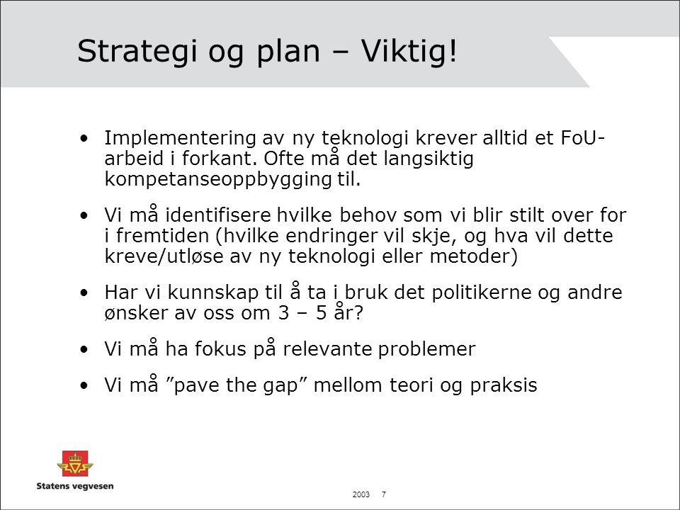 2003 7 Strategi og plan – Viktig! •Implementering av ny teknologi krever alltid et FoU- arbeid i forkant. Ofte må det langsiktig kompetanseoppbygging