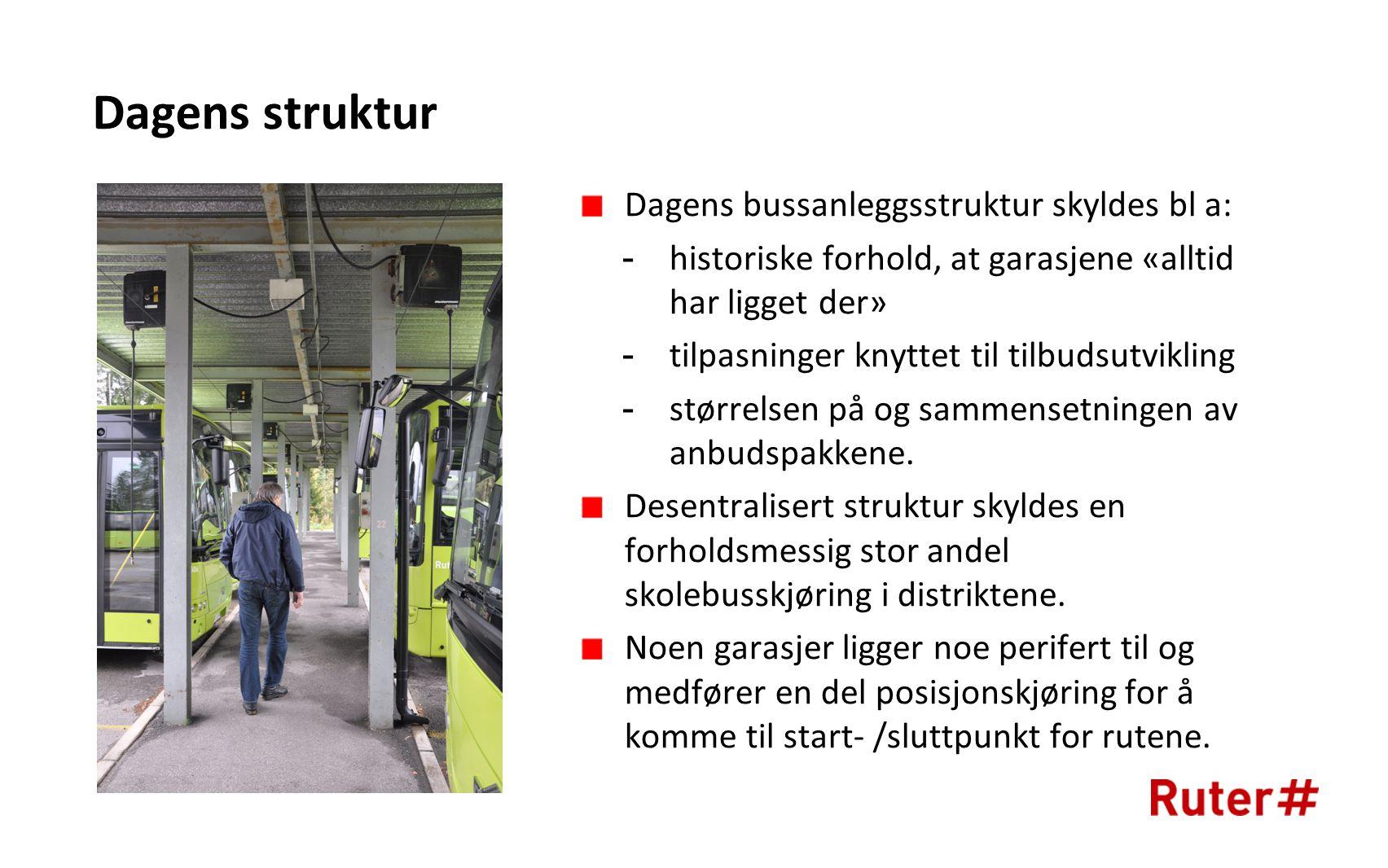 Dagens struktur Dagens bussanleggsstruktur skyldes bl a: -historiske forhold, at garasjene «alltid har ligget der» -tilpasninger knyttet til tilbudsutvikling -størrelsen på og sammensetningen av anbudspakkene.