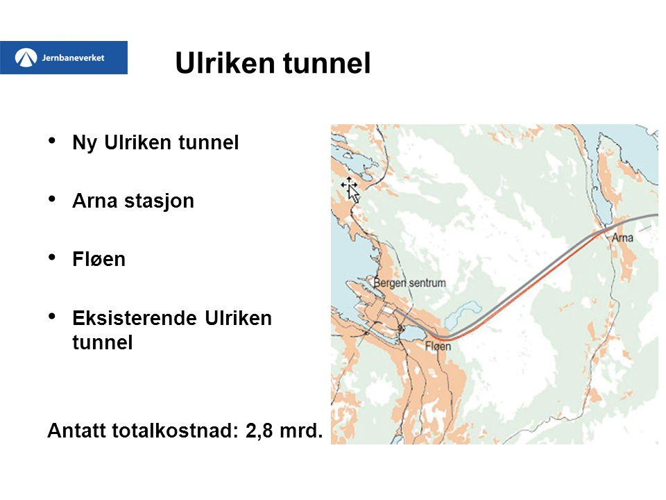 Ulriken tunnel • Ny Ulriken tunnel • Arna stasjon • Fløen • Eksisterende Ulriken tunnel Antatt totalkostnad: 2,8 mrd.