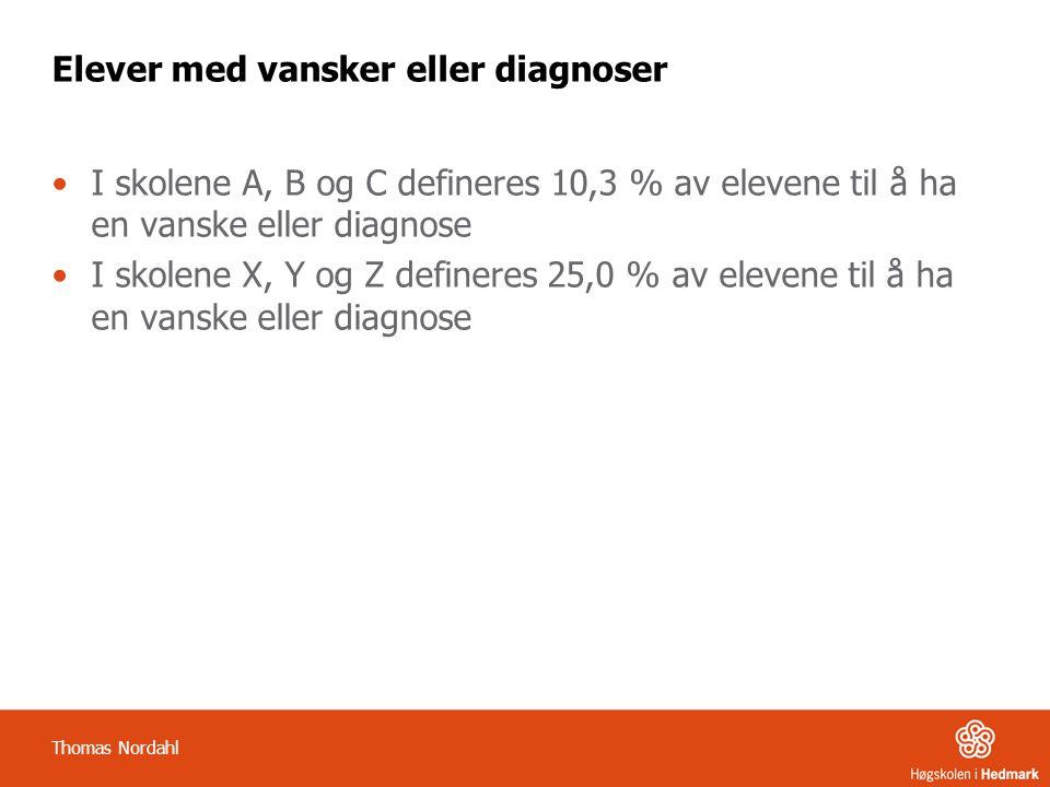 Elever med vansker eller diagnoser •I skolene A, B og C defineres 10,3 % av elevene til å ha en vanske eller diagnose •I skolene X, Y og Z defineres 2