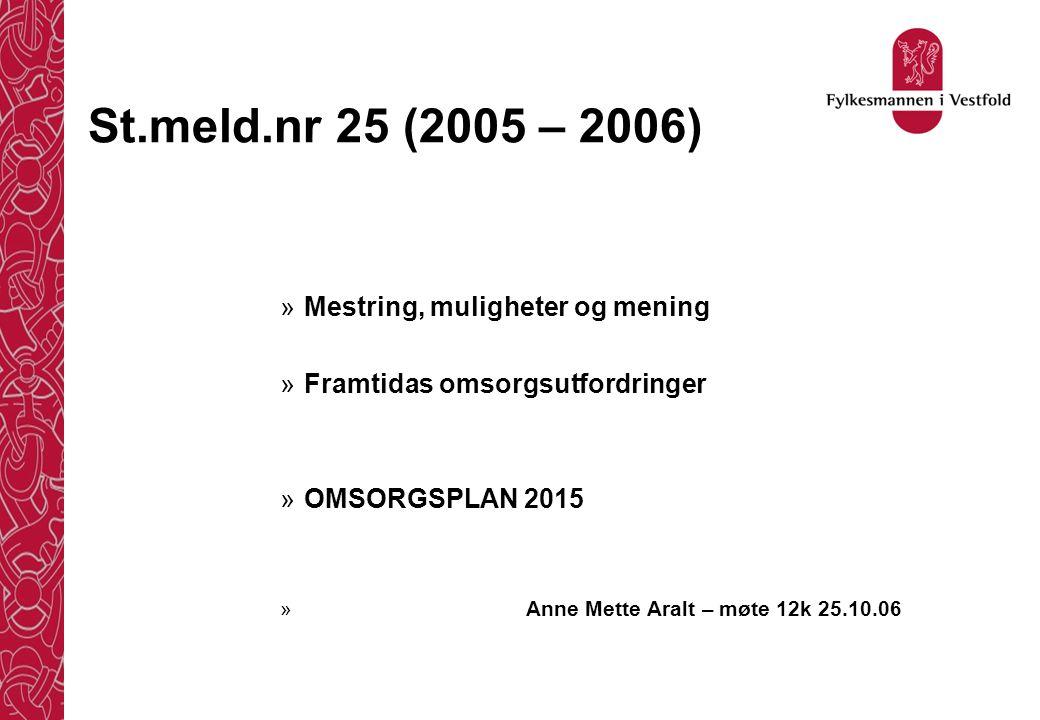 St.meld.nr 25 (2005 – 2006) »Mestring, muligheter og mening »Framtidas omsorgsutfordringer »OMSORGSPLAN 2015 » Anne Mette Aralt – møte 12k 25.10.06