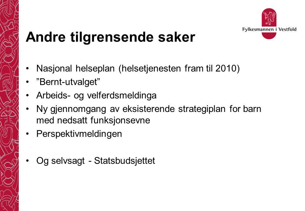 """Andre tilgrensende saker •Nasjonal helseplan (helsetjenesten fram til 2010) •""""Bernt-utvalget"""" •Arbeids- og velferdsmeldinga •Ny gjennomgang av eksiste"""