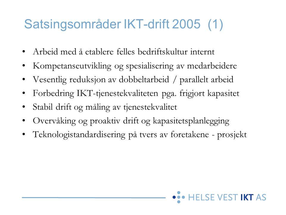 Satsingsområder IKT-drift 2005 (1) •Arbeid med å etablere felles bedriftskultur internt •Kompetanseutvikling og spesialisering av medarbeidere •Vesent