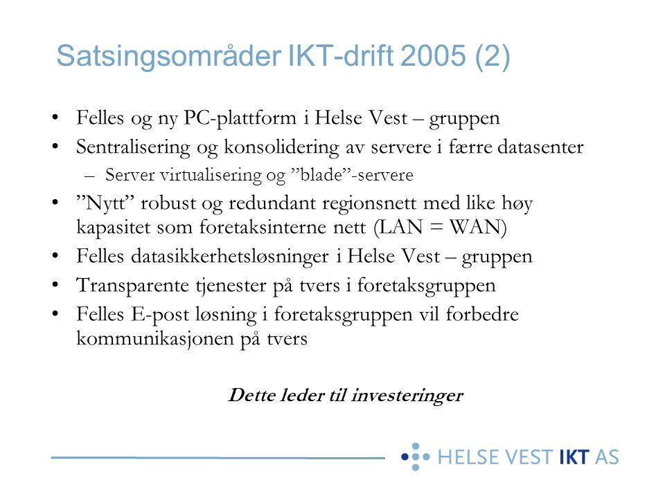 Satsingsområder IKT-drift 2005 (2) •Felles og ny PC-plattform i Helse Vest – gruppen •Sentralisering og konsolidering av servere i færre datasenter –S